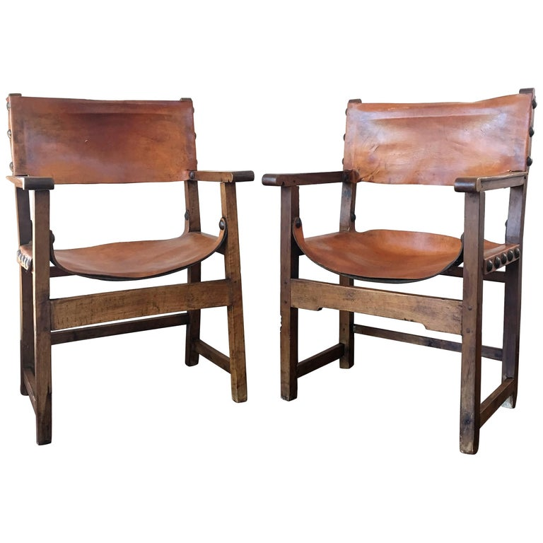 18th Century Pair of Spanish Colonial Style Armchairs