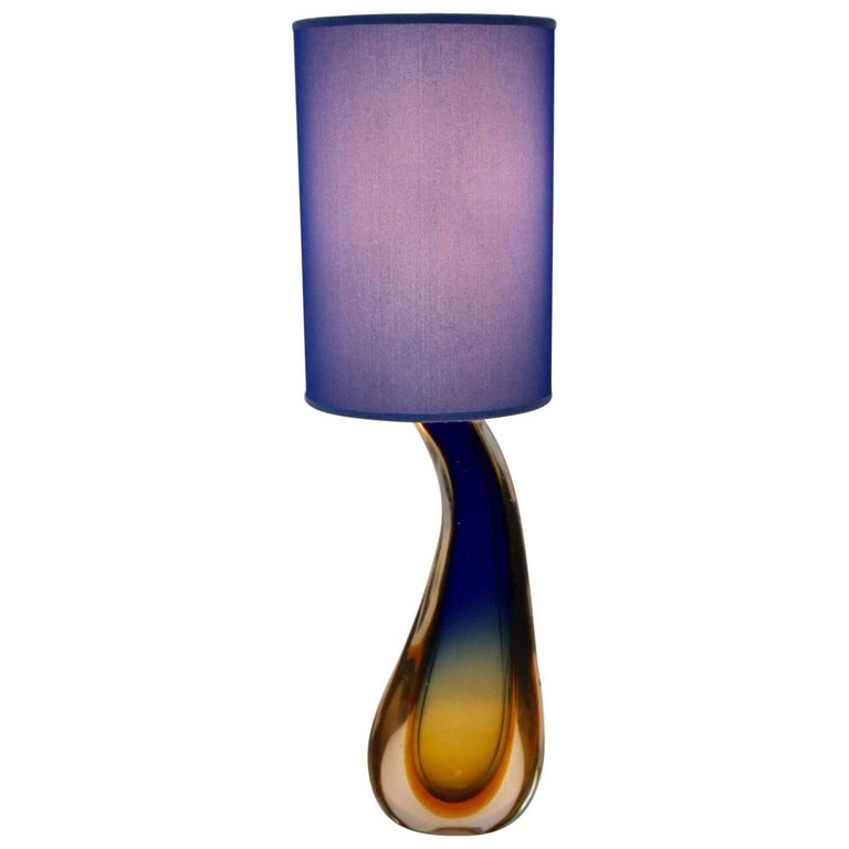 Blue Glass Table Lamp by Flavio Poli, 1950s, Italy