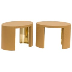 Oval Crackle Side Tables by Talisman Bespoke 'Ochre and Gold'