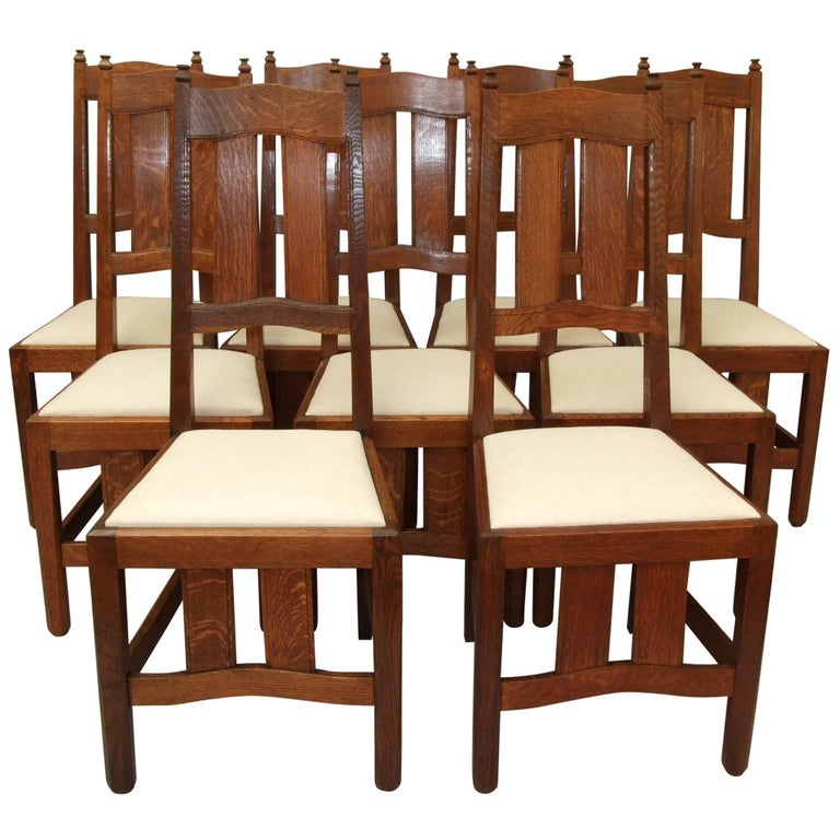Dining chairs w r lethaby oak arts and crafts at 1stdibs - Arts and crafts dining room furniture ...