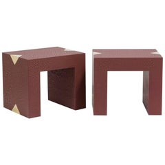 Rectangular Crackle Side Tables by Talisman Bespoke Burgundy and Gold
