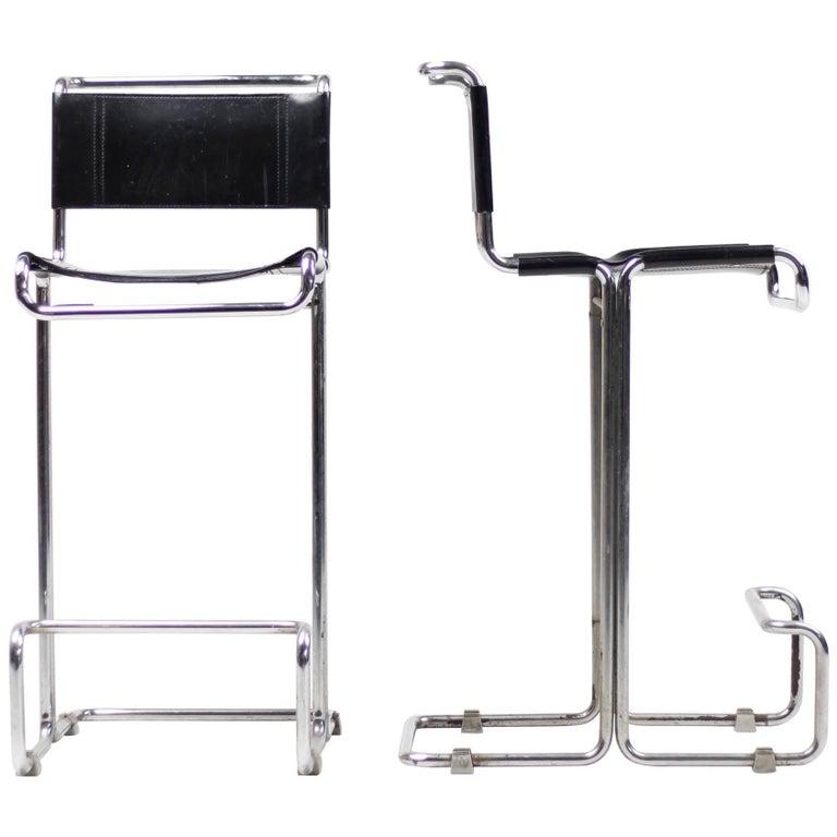 Pair of Leather Bar Stools, Bauhaus, Mart Stam