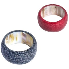 Shagreen Red Napkin Rings with Mother-of-Pearl Interior