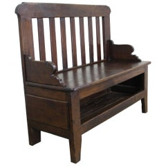 Antique French Chestnut Seat with Open Front