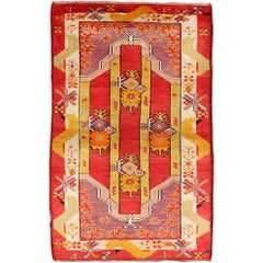 Vibrant 1920s Antique Turkish Oushak Rug with Geometric Motifs in Red and Yellow