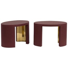 Oval Crackle Side Tables by Talisman Bespoke 'Burgundy and Gold'