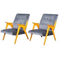 Pair of Jaroslav Smidek Czech Grey Velvet Buttoned Armchairs