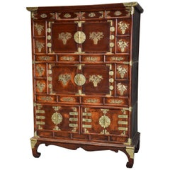 19th Century Korean Elm Cabinet with Brass Decoration of Superb Patina