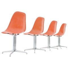 Set of Four Charles & Ray Eames Fiberglass Side Chairs with La Fonda Base