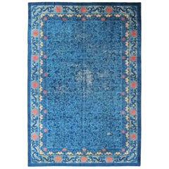 Blue 19th Century Antique Chinese Peking Rug with All-Over Floral Pattern