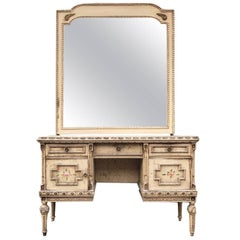 Antique French Dressing Table with Original Paint and Large Mirror