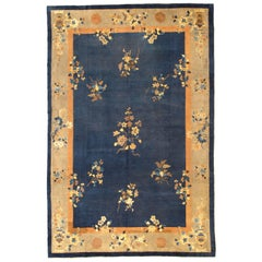 Large Antique Chinese Rug with Flowers and Vases in Navy Blue and Tan