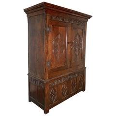 17th Century Welsh Oak Slab Side Housekeepers Cupboard, Wardrobe
