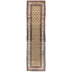 Early 20th Century Tribal Antique Serab Runner with All-Over Pattern in Wheat