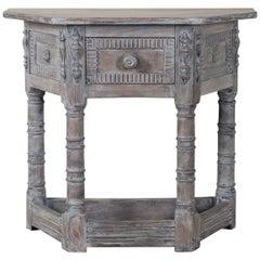Antique English Limed Oak Credenza Console Table, circa 1890