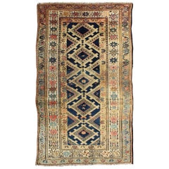 Antique Early 20th Century Persian Hamadan Rug with Diamond Medallions