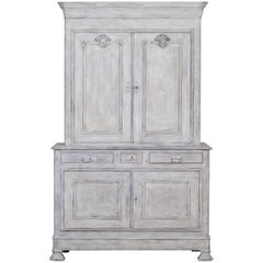 French Painted Oak Louis Philippe Buffet a Deux Corps Cabinet, circa 1850