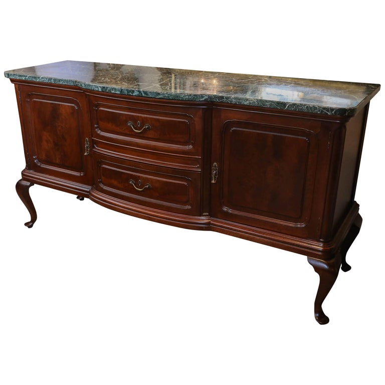 Queen Anne Style Buffet Or Sideboard Mahogany With Green