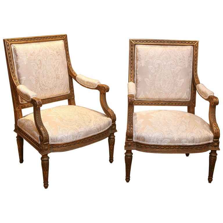 Pair of French Louis XVI Style Giltwood Armchairs or Fauteuils, 19th Century