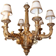 Giltwood Chandelier with Six Lights, Carved with Scrolling Arms and Reeded Post