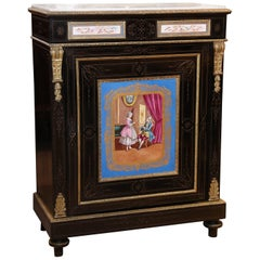 19th Century, French Ebonized Cabinet with Sèvres style Porcelain Painting