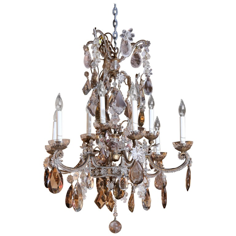 Bronze and Rock Crystal Chandelier with Amber, Smoke and Amythest Crystals