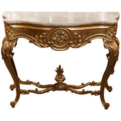 Giltwood Console in Louis XV Style, 20th Century with Cream Marble Top