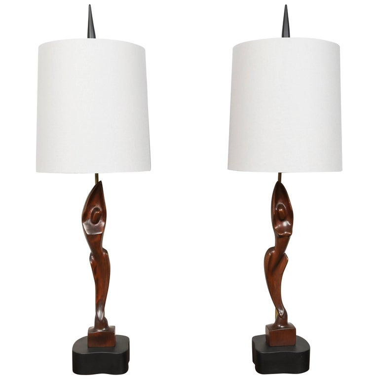 Pair of Mid-Century Heifitz Lamps For Sale