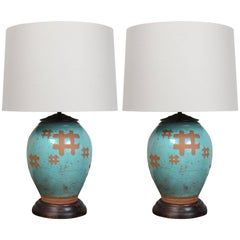 Pair of Japanese Terra Cotta Table Lamps