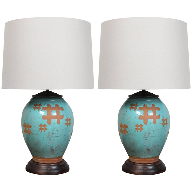 Pair of Japanese Terra Cotta Table Lamps 1