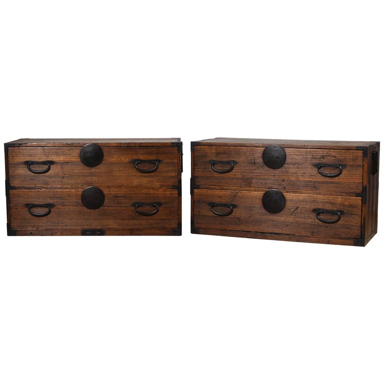 Antique Japanese Two-Piece Tansu For Sale
