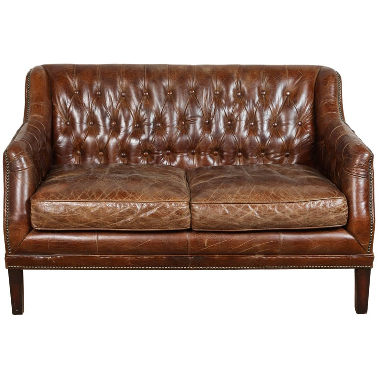 Vintage Tufted Leather Loveseat 1