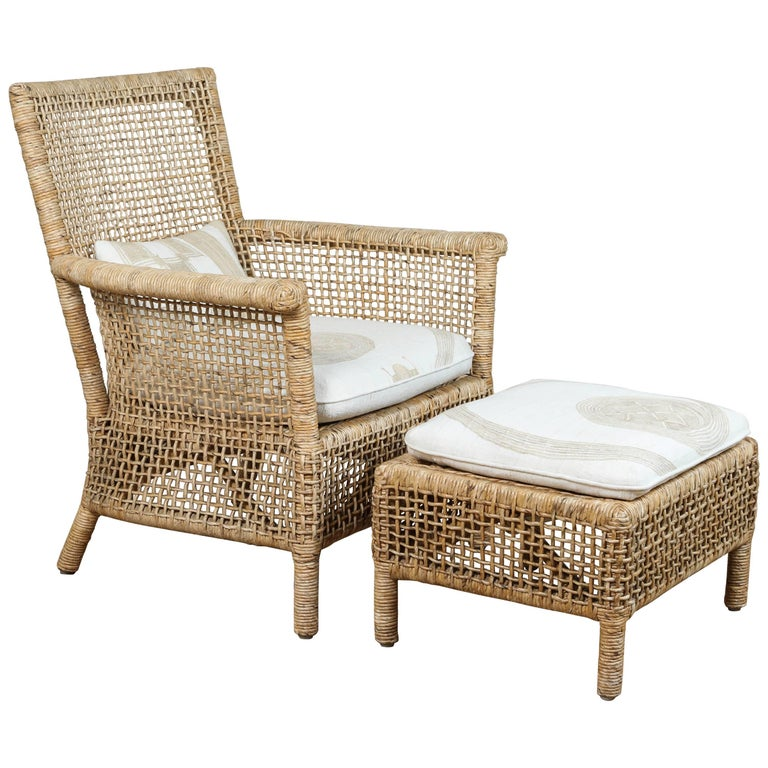 Rattan Chair and Ottoman with African Textile Cushions For Sale