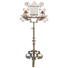 Early 20th Century Music Stand with Candelabra Arms and Lyre Shaped Stand