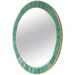Round Mirror by Cristal Art, Italy, circa 1960 Mirrored Glass with Brass Trim En