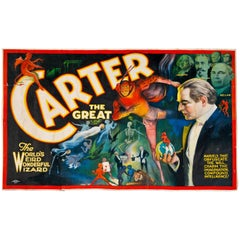 1915 'Carter the Great' Banner by Otis Lithograph, Cleveland