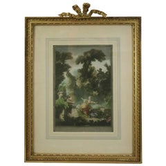 "Antique English Print after the French Painting ""La Poursuite"" by Fragonard"