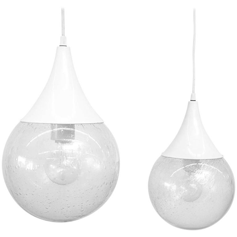 RAAK Style Glass Globe 'Tear Drop' Ceiling Lamp