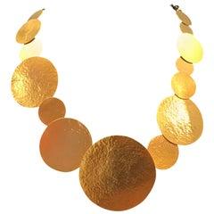 Herve Van Der Straeten Gilded Brass Pastilles Necklace with Black Suede Ribbon