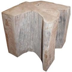 Teak Block Form End Table