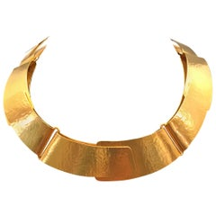 Herve Van Der Straeten Gilded Forged Brass Folded Ribbon Necklace Choker Collar