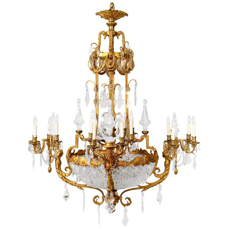 Palatial Late 19th Century Gilt Bronze and Cut Crystal Chandelier by Mottheau