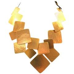 Hand-Forged Gilded Geometric Necklace from Herve Van Der Straeten