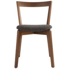Mid-Century Modern Walnut Side Chair with Dark Grey Camira Wool Cushion