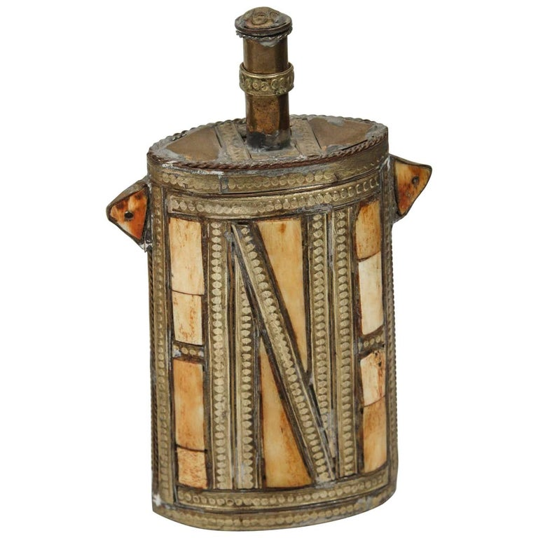 Moroccan Brass Berber Powder Flask Inlaid with Bone