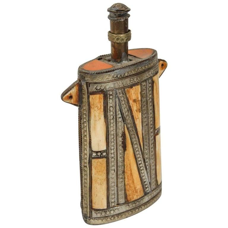 Moroccan Berber Brass Tribal Gun Powder Flask with Bone Inlay