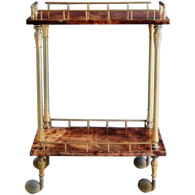 Aldo Tura Petite Lacquered Goatskin and Brass Bar Cart