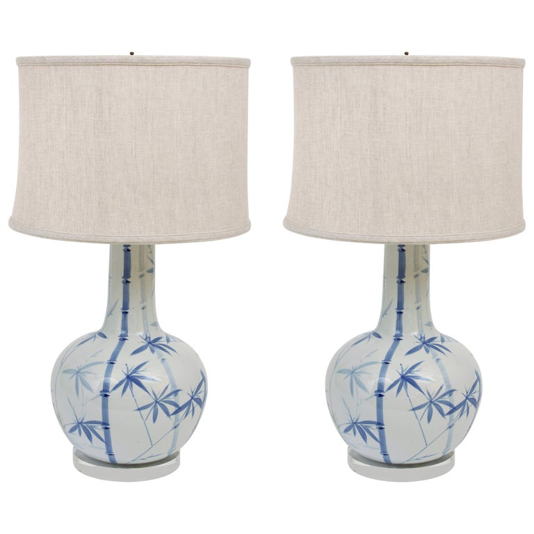 Pair of Blue and White Ceramic Lamps