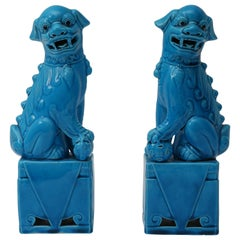 Pair of 1920s Chinese, Glazed Peking Blue Foo Dogs