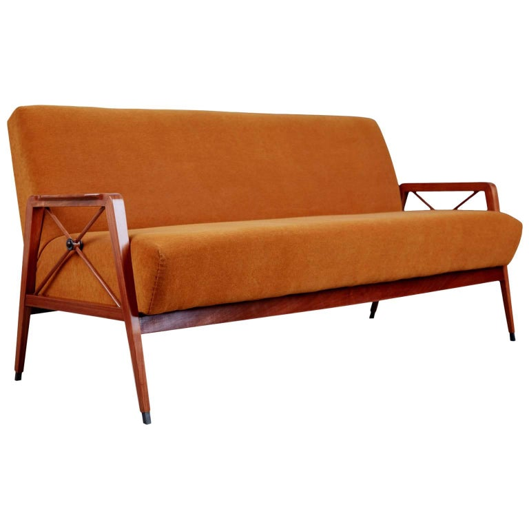 Exotic Caviuna Wood and Mohair Sofa by Cavallaro Brazil, Restored, circa 1960